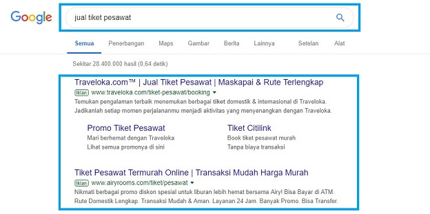 Contoh google search network Google Ads Adwords